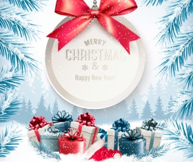 Christmas background with presents and gift card vector 01