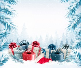 Christmas background with presents and gift card vector 02