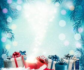 Christmas background with presents and gift card vector 03