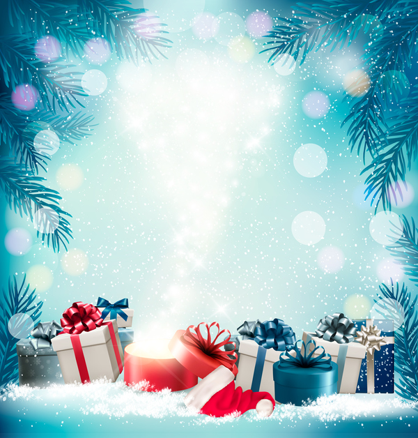 Christmas Gift Background: Christmas Background With Presents And Gift Card Vector 03