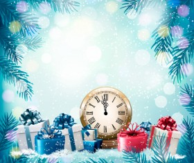 Christmas background with presents and gift card vector 04