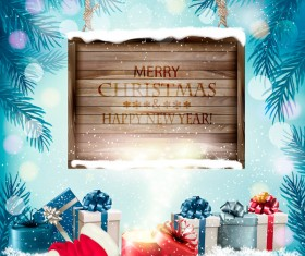 Christmas background with wooden board and presents vector 01