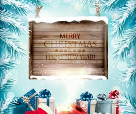 Christmas background with wooden board and presents vector 02