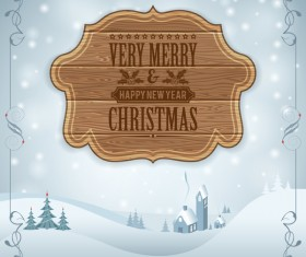 Christmas background with wooden board sign vector 01