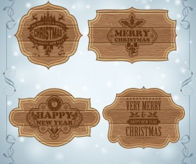 Christmas background with wooden board sign vector 02