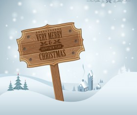 Christmas background with wooden board sign vector 03