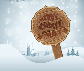 Christmas background with wooden board sign vector 04