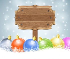 Christmas background with wooden board sign vector 05