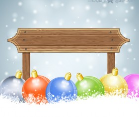 Christmas background with wooden board sign vector 06