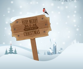 Christmas background with wooden board sign vector 07