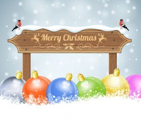 Christmas background with wooden board sign vector 08