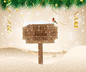 Christmas background with wooden board sign vector 09
