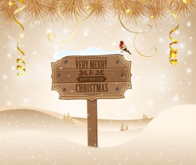 Christmas background with wooden board sign vector 10