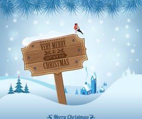 Christmas background with wooden board sign vector 11