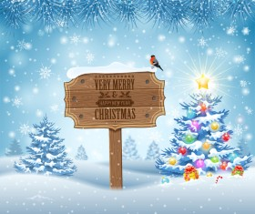 Christmas background with wooden board sign vector 12