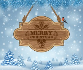 Christmas background with wooden board sign vector 13