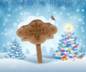 Christmas background with wooden board sign vector 14
