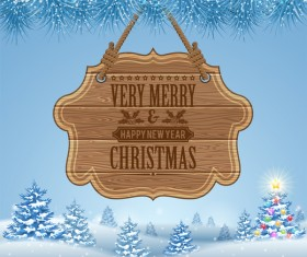 Christmas background with wooden board sign vector 15