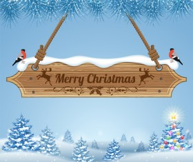 Christmas background with wooden board sign vector 16