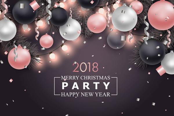 christmas ball with 2018 new year party template vector