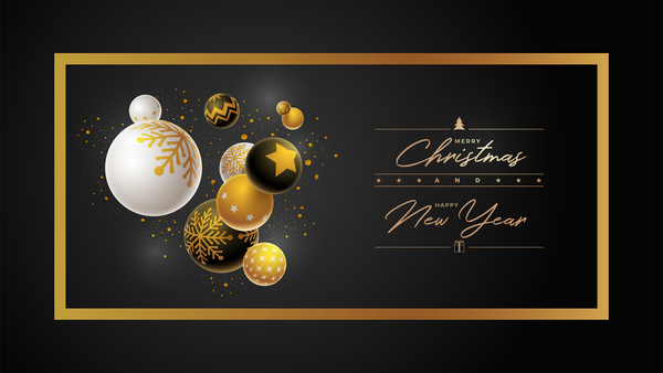 christmas ball with new year black background vector 03