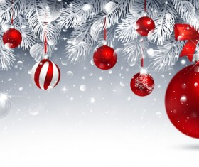 Christmas balls decor background with fir vector