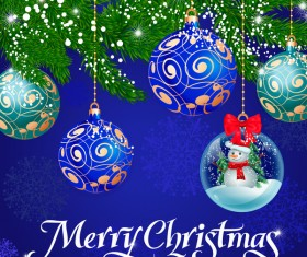 Christmas balls decor with crystal ball vector material