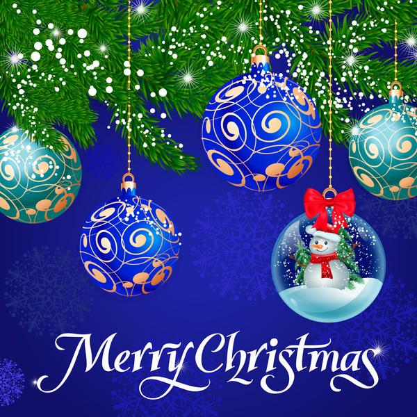 Christmas balls decor with crystal ball vector material
