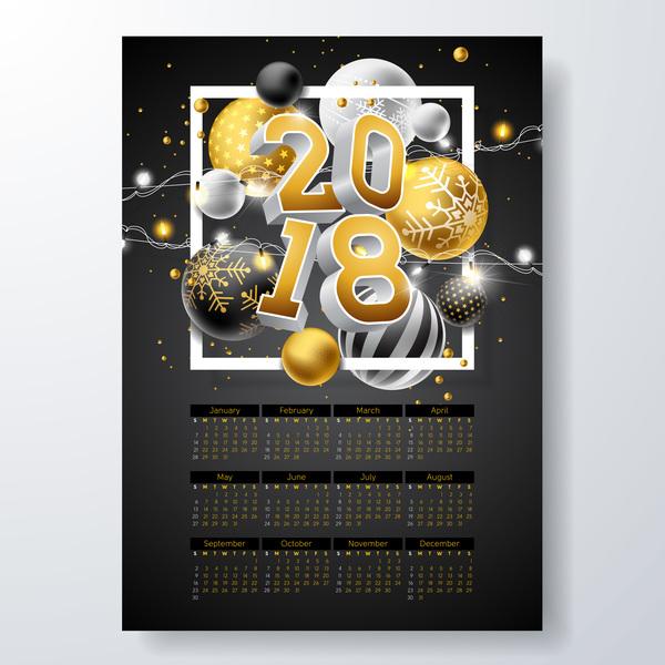 Christmas balls with 2018 calendar template vector 01