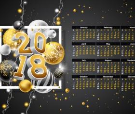 Christmas balls with 2018 calendar template vector 02