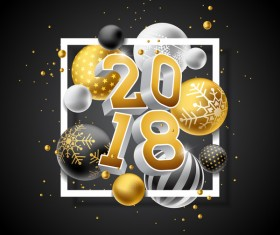 Christmas balls with 2018 new year background vector