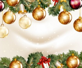 Christmas balls with spruce branches illustration vector 01