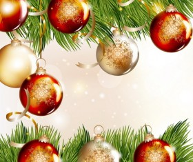 Christmas balls with spruce branches illustration vector 02