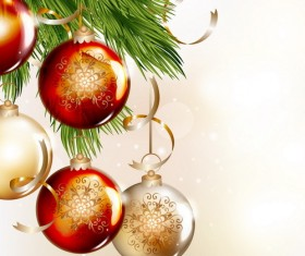 Christmas balls with spruce branches illustration vector 03