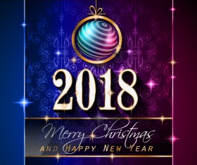 Christmas balls with vintage 2018 new year background vector  01