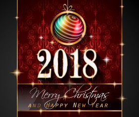 Christmas balls with vintage 2018 new year background vector  02