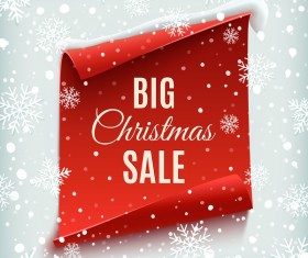 Christmas big sale with snow background and red paper vector