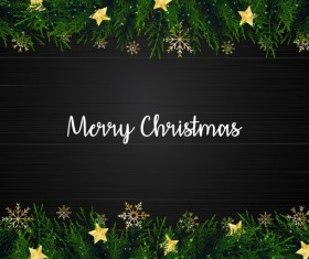 Christmas black background with fir border vector