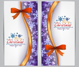 Christmas bows banners design vector 01