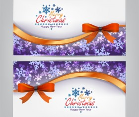 Christmas bows banners design vector 02