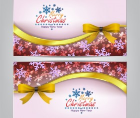 Christmas bows banners design vector 03