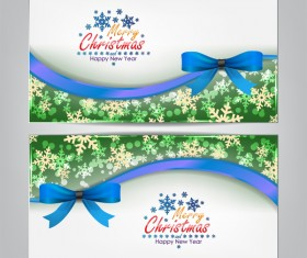 Christmas bows banners design vector 04