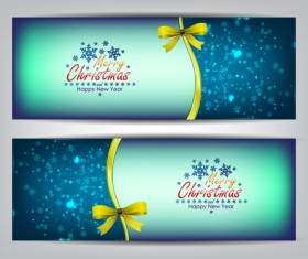 Christmas bows banners design vector 05