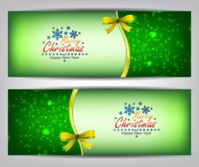 Christmas bows banners design vector 06
