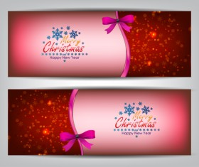 Christmas bows banners design vector 07