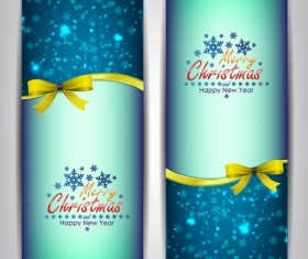 Christmas bows banners design vector 08