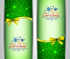 Christmas bows banners design vector 09