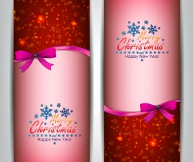 Christmas bows banners design vector 10