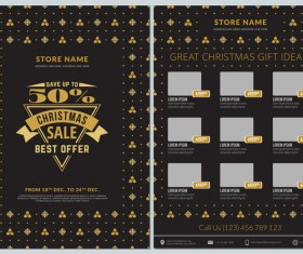 Christmas brochure template with gift card vector 02
