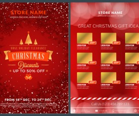 Christmas brochure template with gift card vector 06